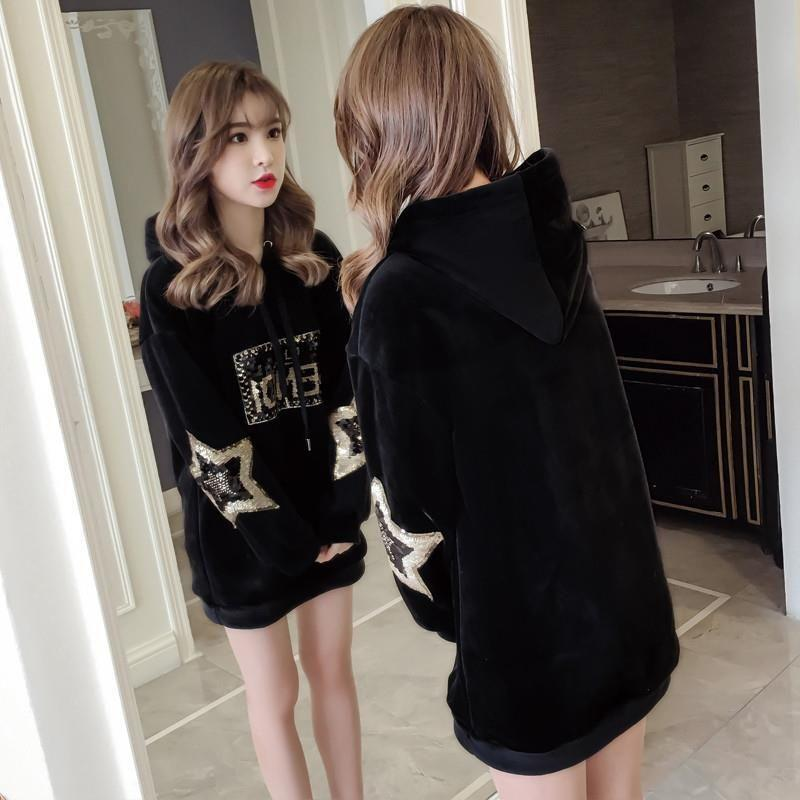 Winter 2020 small plush plush cashmere sweater womens medium length loose coat double faced suede top