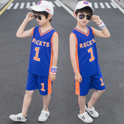Father son Chinese suit children team basketball suit fattening childrens basketball suit quick drying