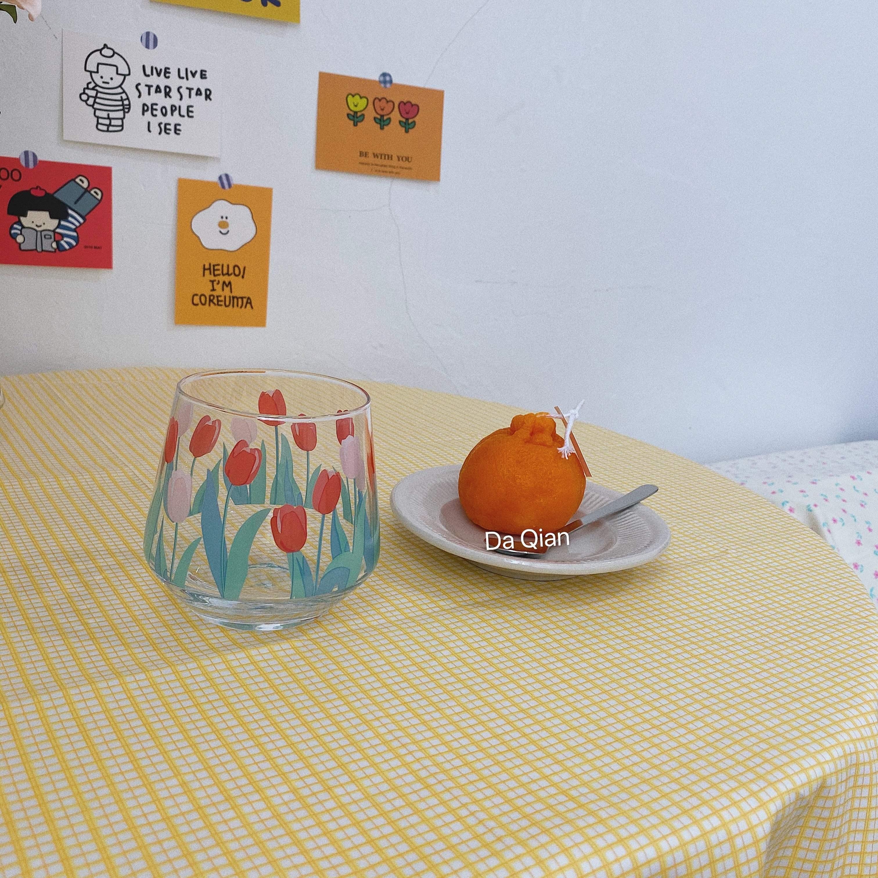 大千印象 ins冰淇淋黄色格子桌布野餐布盖布背景布家居咖啡店摆拍