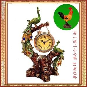 领20元券购买大象工艺品北欧创意招财马钟客厅装饰品结婚新房礼品孔雀钟表摆件