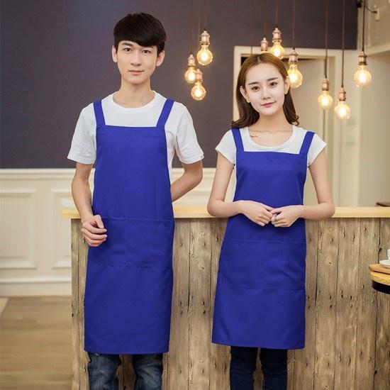 Postal work uniform apron factory workshop company advertising promotion face Hotel waiters and waitresses deep royal blue.
