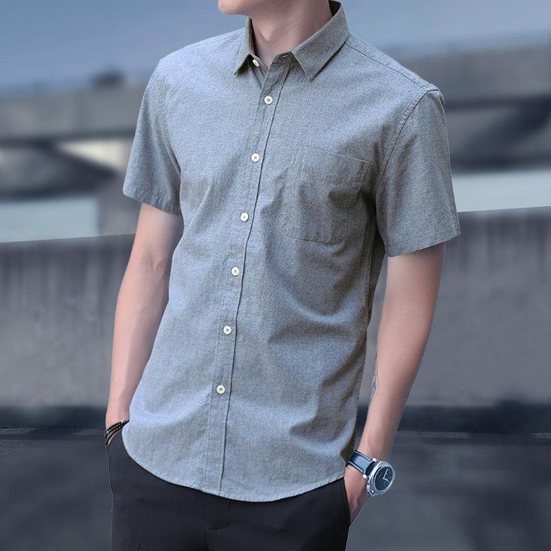 【高品质】牛津纺衬衫男短袖夏季韩版修身中青年潮流休闲牛仔衬衣