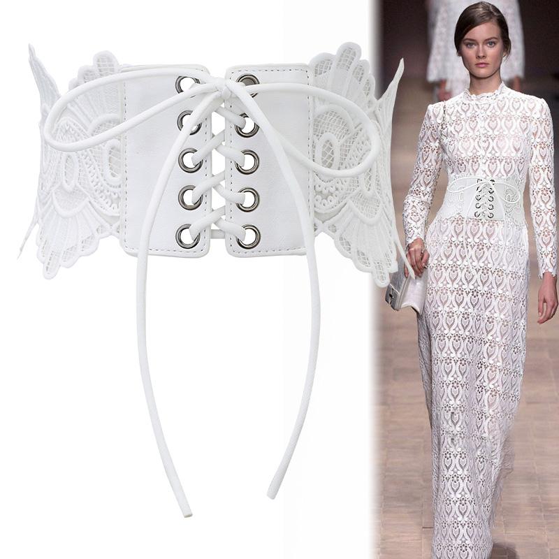 韩版时尚甜美蕾丝女士腰带宽绣花穿绳绑带连衣裙装饰腰封黑色白色