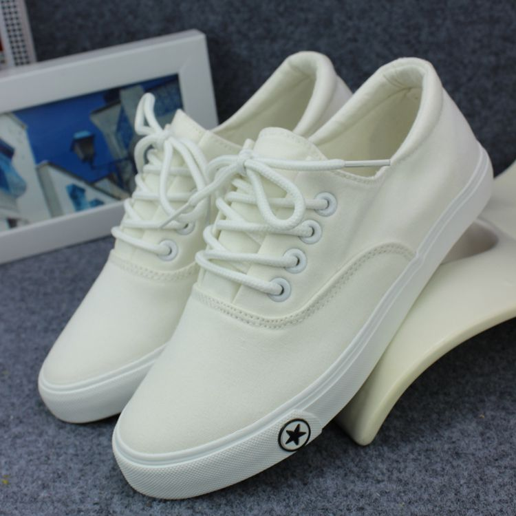 Korean color pure casual shoes new 2018 womens light sneakers cloth shoes white pure white primary school canvas shoes single shoes