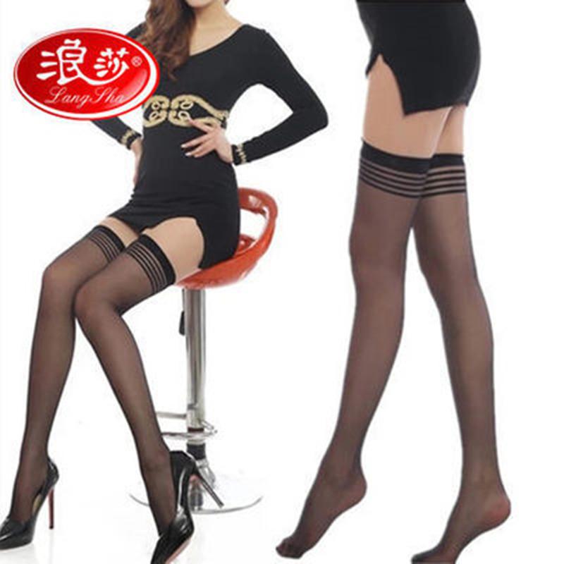 【浪莎4双】丝袜长筒袜防勾丝女性感中筒超薄美腿袜过膝高筒袜子
