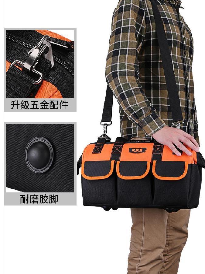 电子帆布17寸修包旅行包携带加大袋包加厚拉链底工具防护包汽塑。