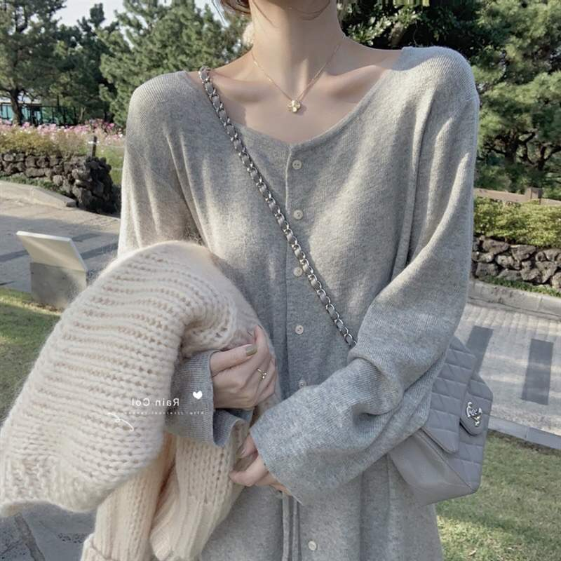 Autumn and winter womens mid long cashmere blended long sleeve loose knit bandage dress with sweater, jacket and skirt