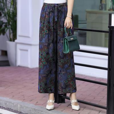 Size big foot mother 2021 wide silk high waist cotton casual pants elastic leg womens pants summer nine point skirt pants middle-aged and elderly