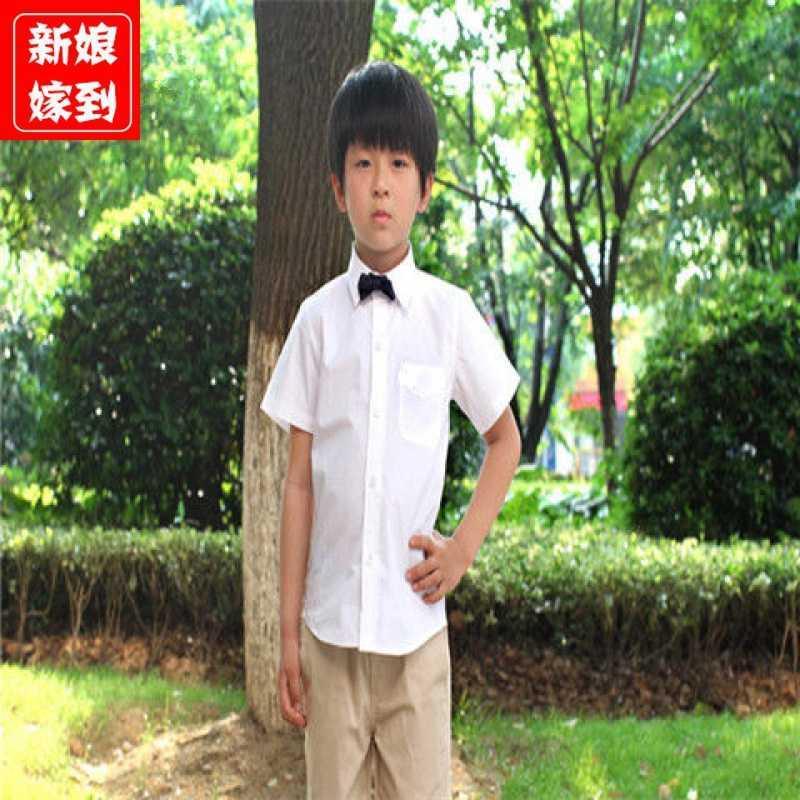 中國代購|中國批發-ibuy99|衬衫男|男童短袖白衬衫长袖纯白色男孩衬衣儿童装表演出服 中大童学生
