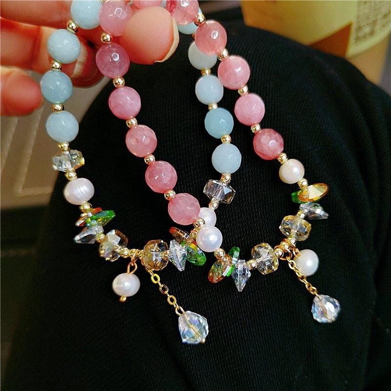 Baroque n pearl natural stone bracelet girlfriends and sisters colorful crystal Elastic Bracelet ins niche Design Bracelet