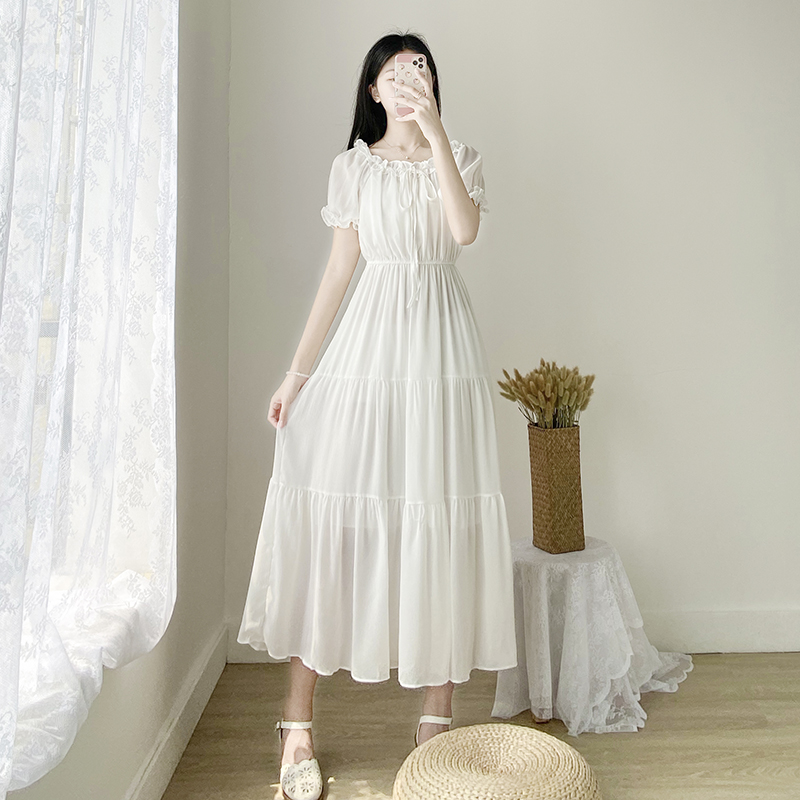 Shang @ summer ankle length skirt female student small fresh and sweet Korean version Sen Department High Waist Chiffon college wind over the knee