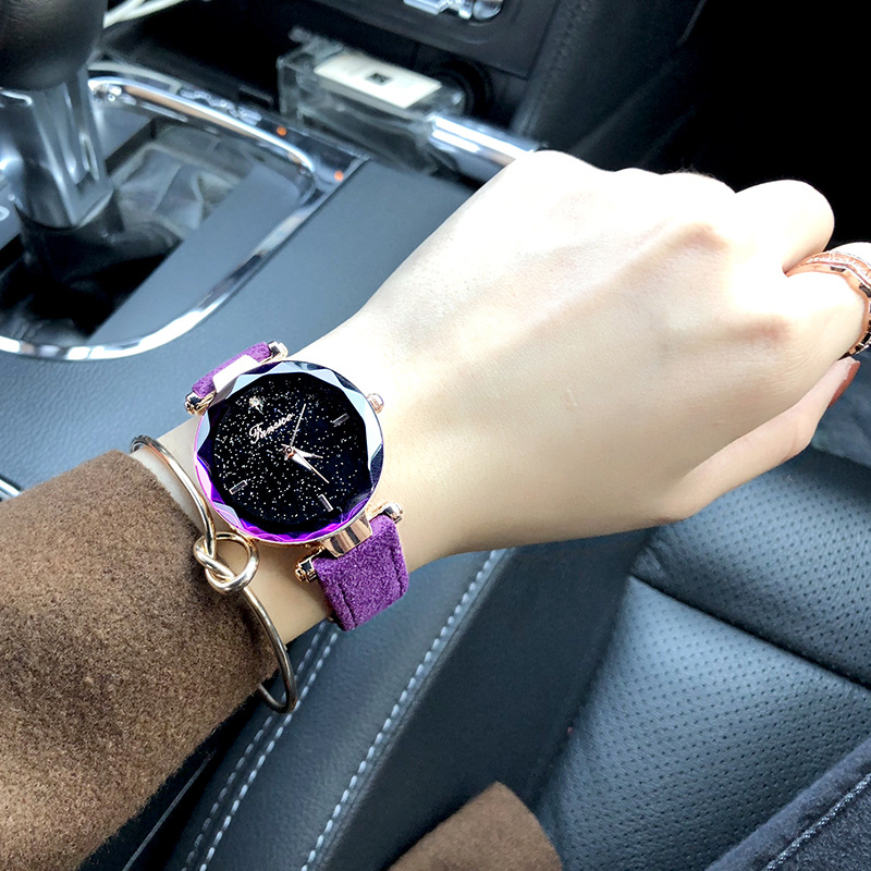 Fashion trend womens watch simple and versatile quartz watch with diamond scale skin Band Watch womens watch boutique