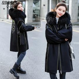 黑色大毛领加绒派克服2021新款女宽松加厚獭兔毛内胆棉衣棉服外套