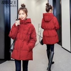 小个子网红羽绒服女中长款2020年新款冬季爆款白鸭绒红色穿搭外套