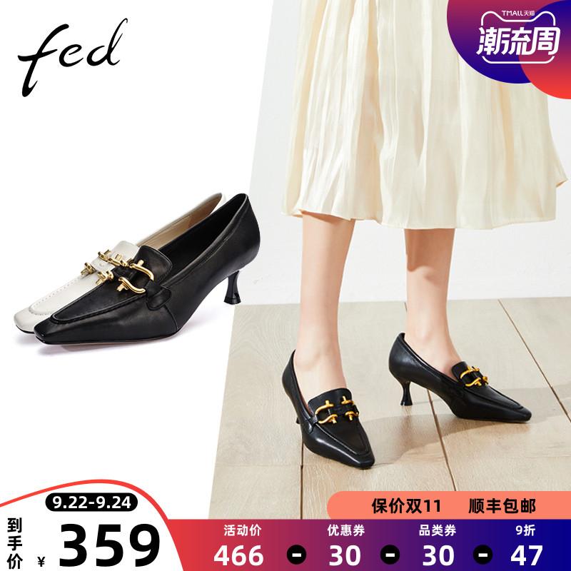fed女鞋乐福鞋尖头2021新款一脚蹬高跟5厘米英伦风职场单鞋MHQ218