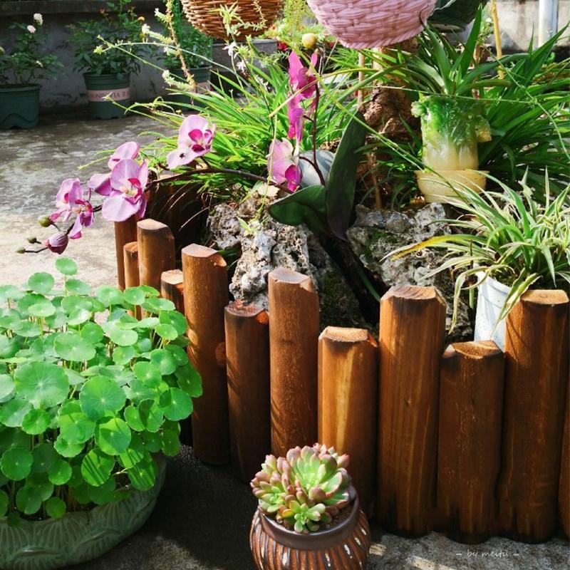 花园围栏园艺院墙菜园子栏杆加厚户外花盆果园碳化木家庭防腐厂;