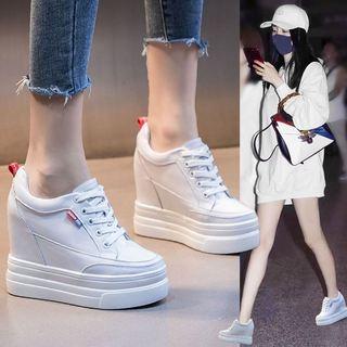真皮12公分内增高单鞋休闲小白鞋小个子超高跟11CM坡跟女鞋松糕秋