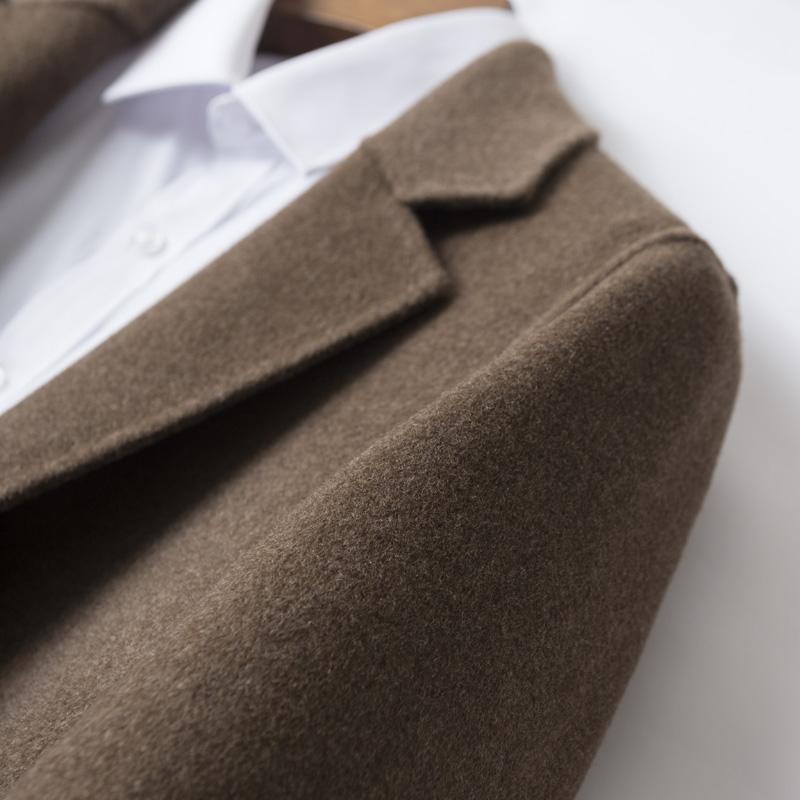 Winter new Korean youth double faced woolen coat mens medium long off shoulder windbreaker without cashmere coat