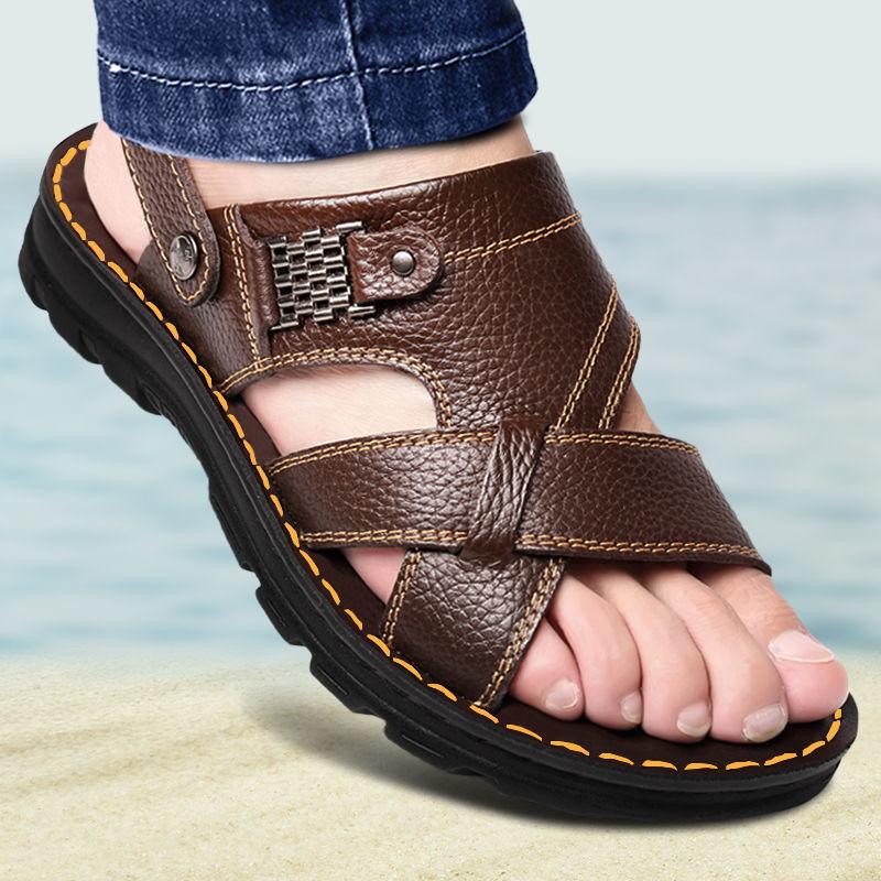 头层牛皮按摩底凉鞋男真皮夏季男士凉拖鞋男休闲沙滩鞋