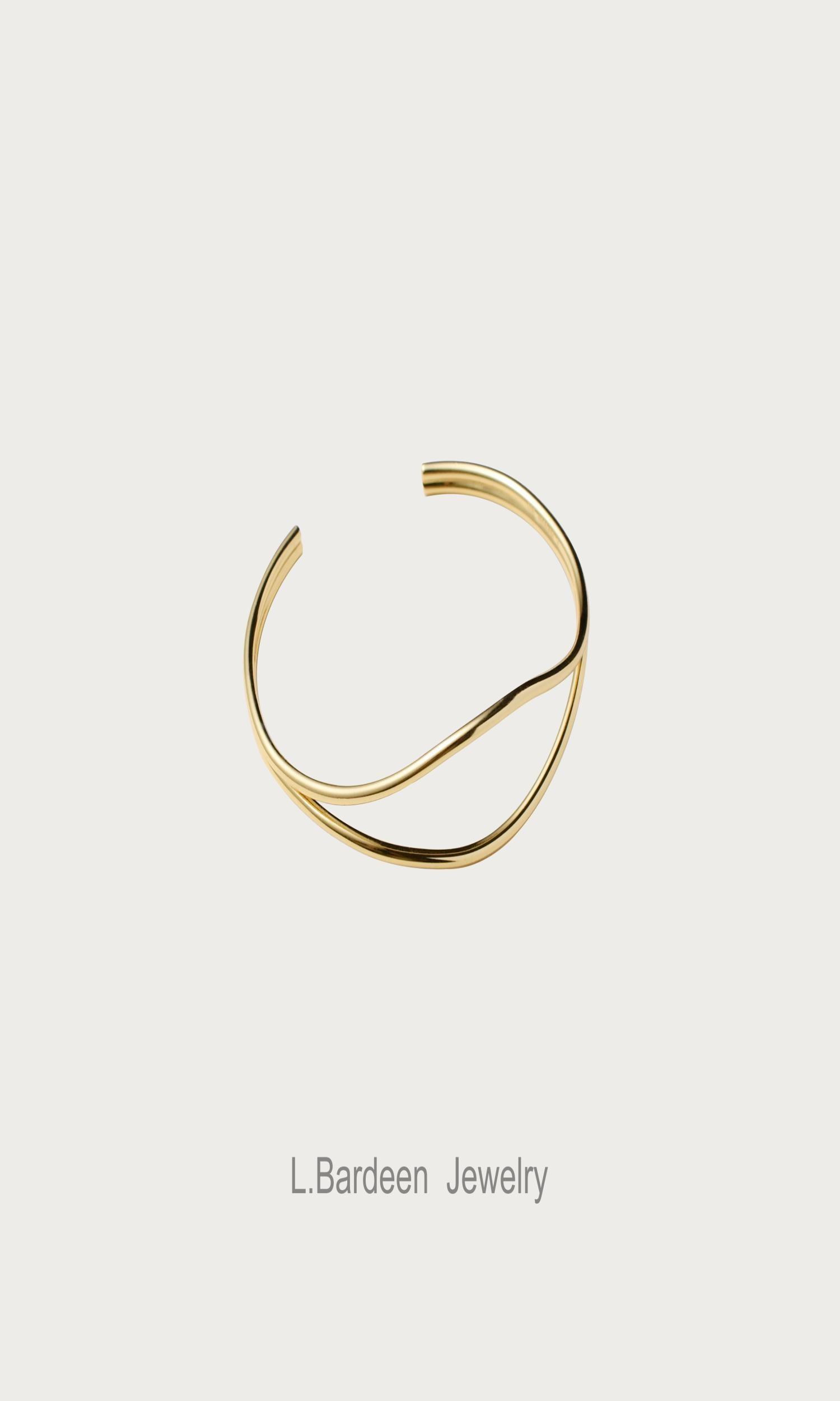 High grade L. Bardeen pure silver bracelet simple Bracelet Gold temperament retro geometry original niche design