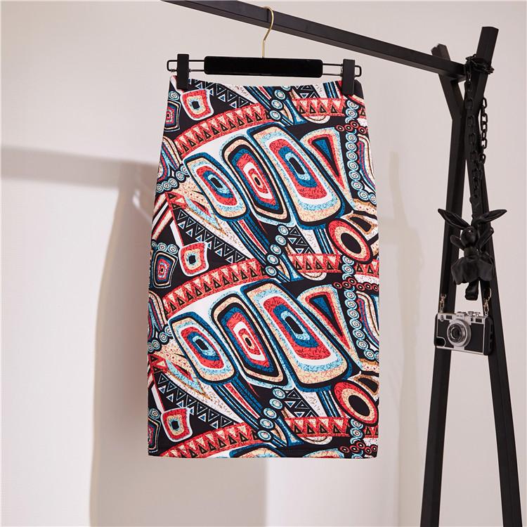 Spring and summer new print skirt with high waist and buttocks f skirt split pencil skirt one step skirt medium length skirt