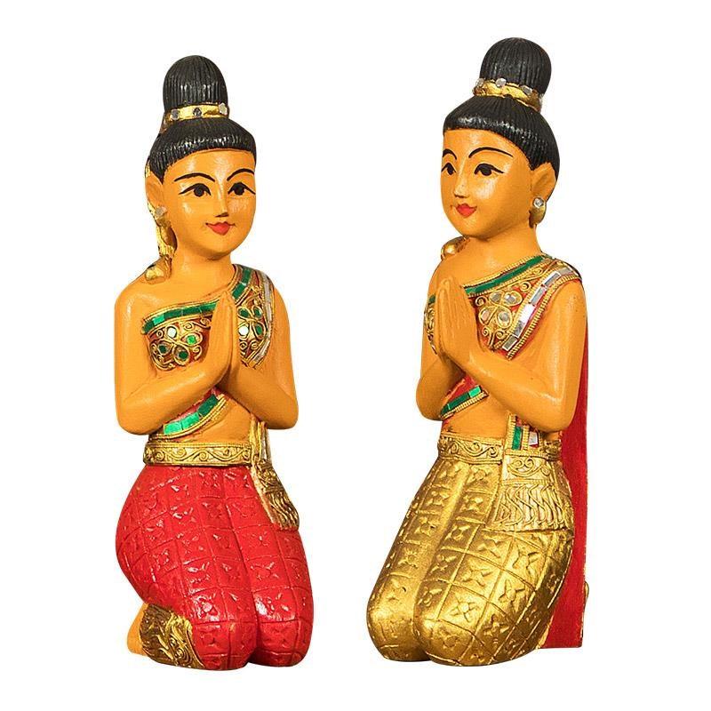 泰O国工艺品东南亚特色装饰品客厅吧台迎宾人泰式木雕佛像摆件