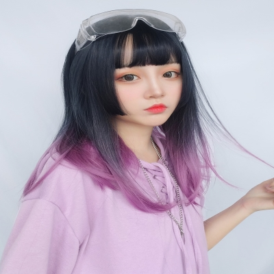 Japanese Princess Cherie hairstyle wig purple gradual change shoulder length full head Lolita net red round face new natural
