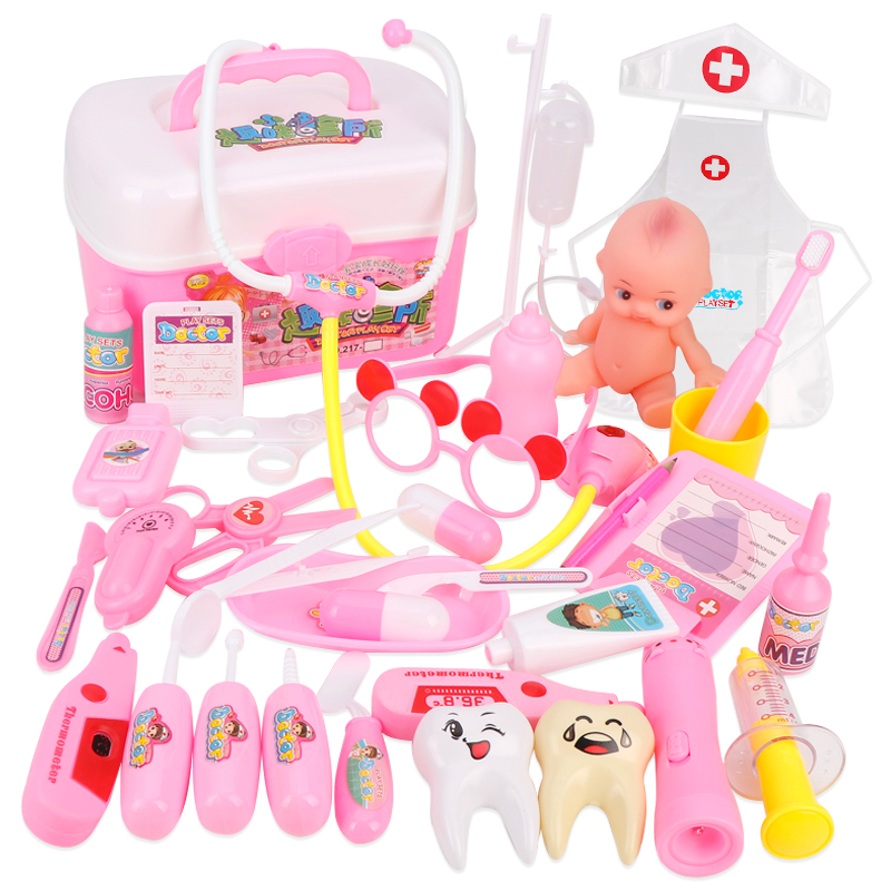 区の材料幼稚園の医者の役の贈り物の病院の小さい演の子供は道具のおもちゃに扮してままごとをします。