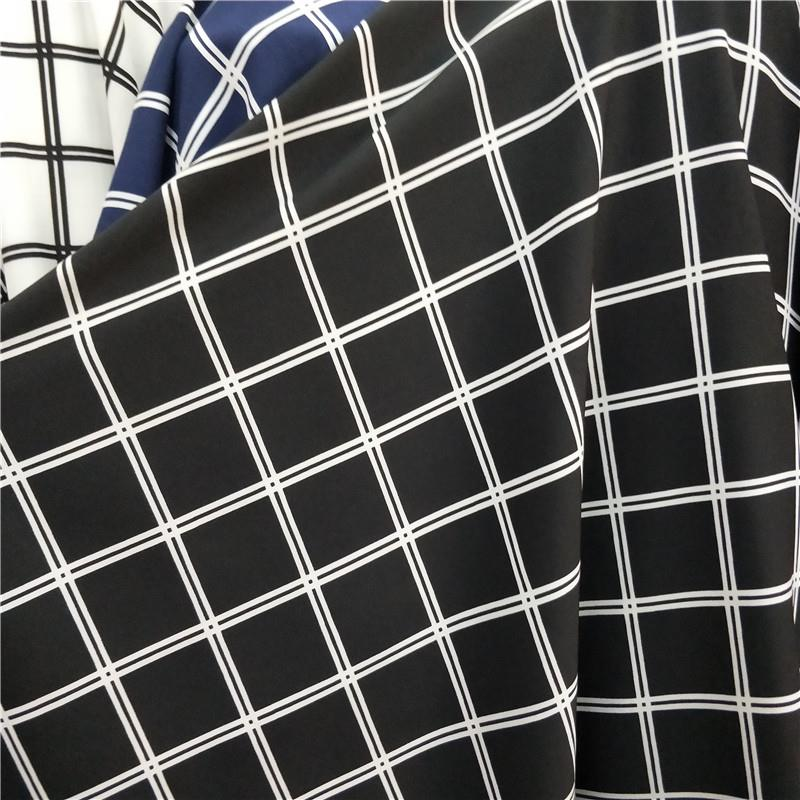 格子条纹印花不透布料 衬衫阔腿裤连衣裙饰品头带垂顺面料 半米价