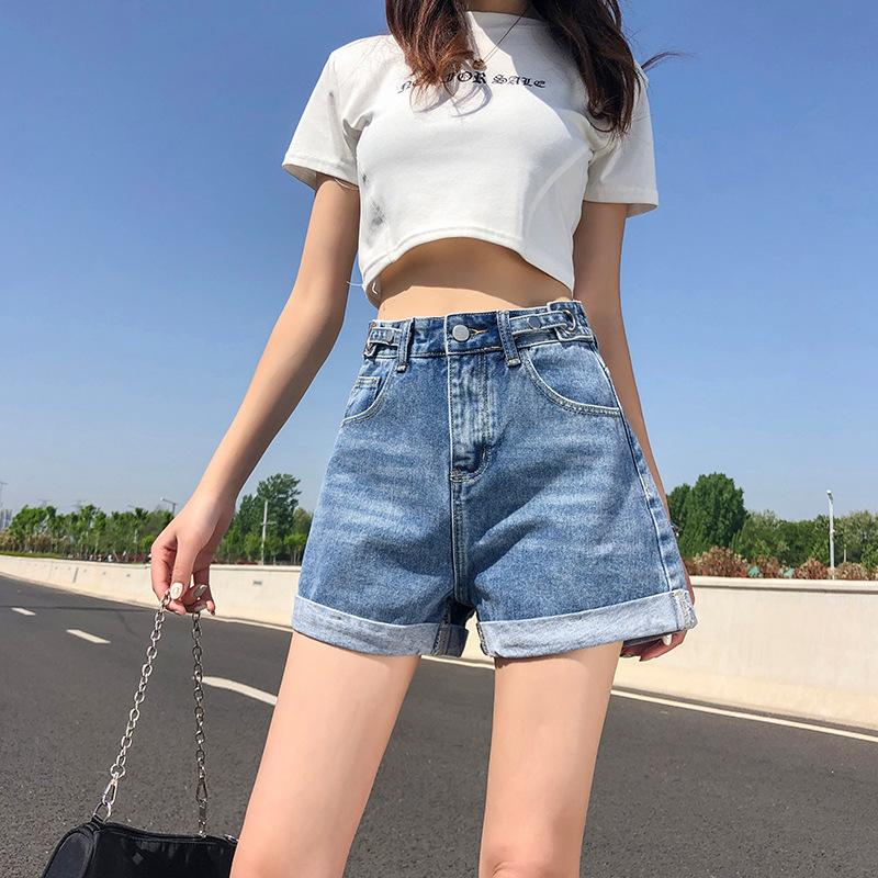 牛仔短裤女夏宽松2021新款阔腿时尚网红ins超火薄款直筒高腰显瘦