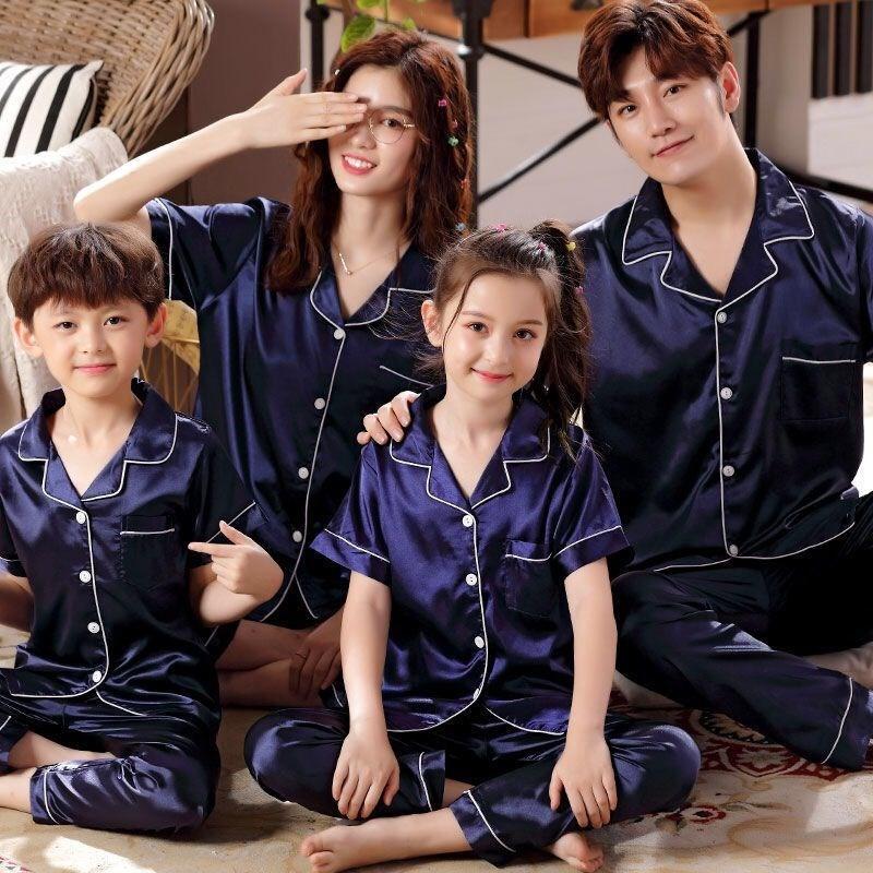 三口儿童薄四父子亲子口一家装款母女丝情侣套装冰夏睡衣睡衣短袖