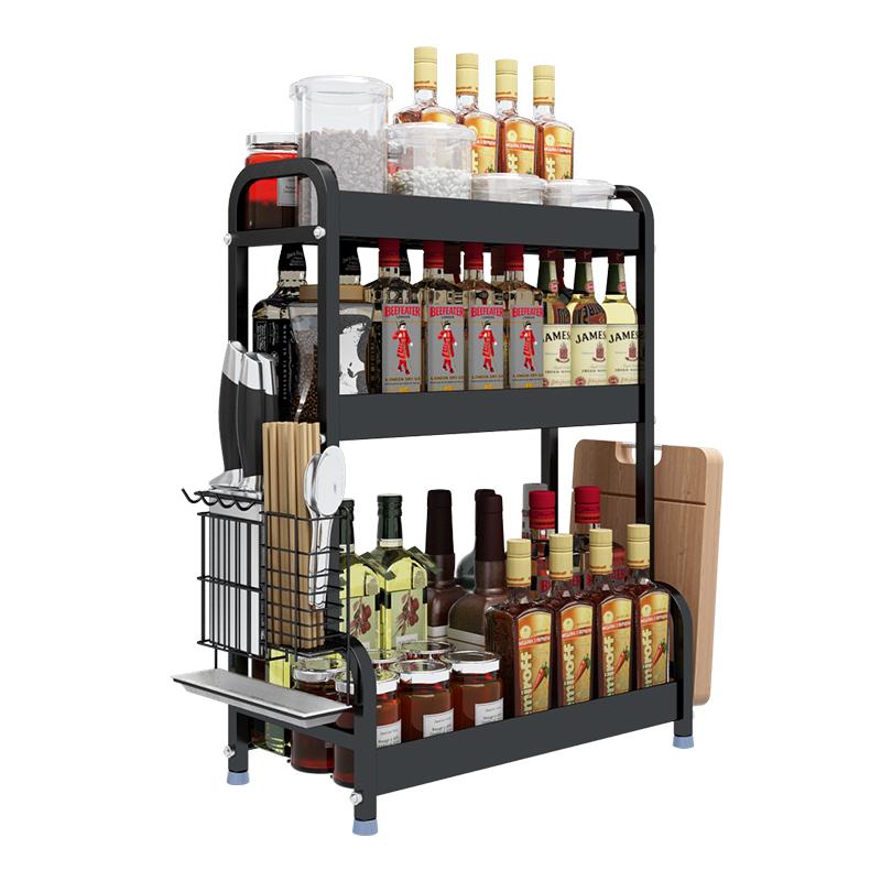厨房调味品调料瓶罐置物架黑色不锈钢放台面多功能收纳架子