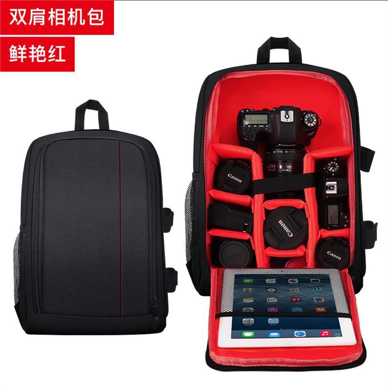 Portable mens Camera Backpack, double shoulder SLR bag, waterproof, portable, outdoor travel, retro backpack.