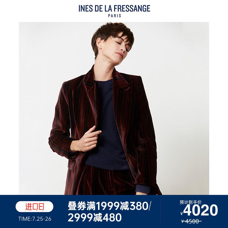 Ines de la fressage short coat womens wine red Blazer stripe velvet casual jacket