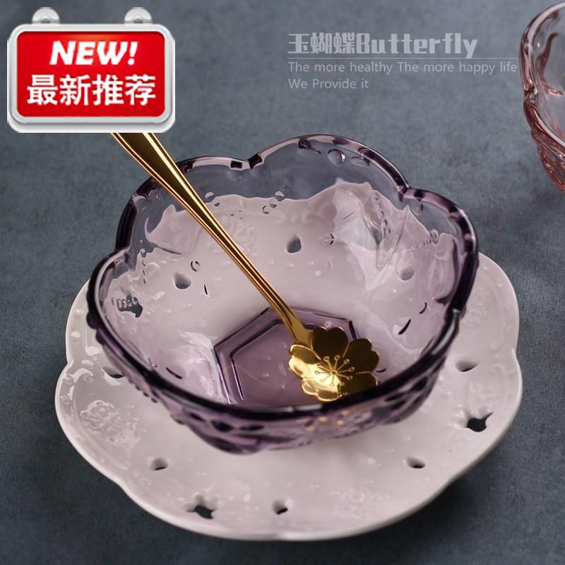 新品冰粉专用碗z配勺子小号迷你可爱玻璃器皿透明厨房商用餐具双