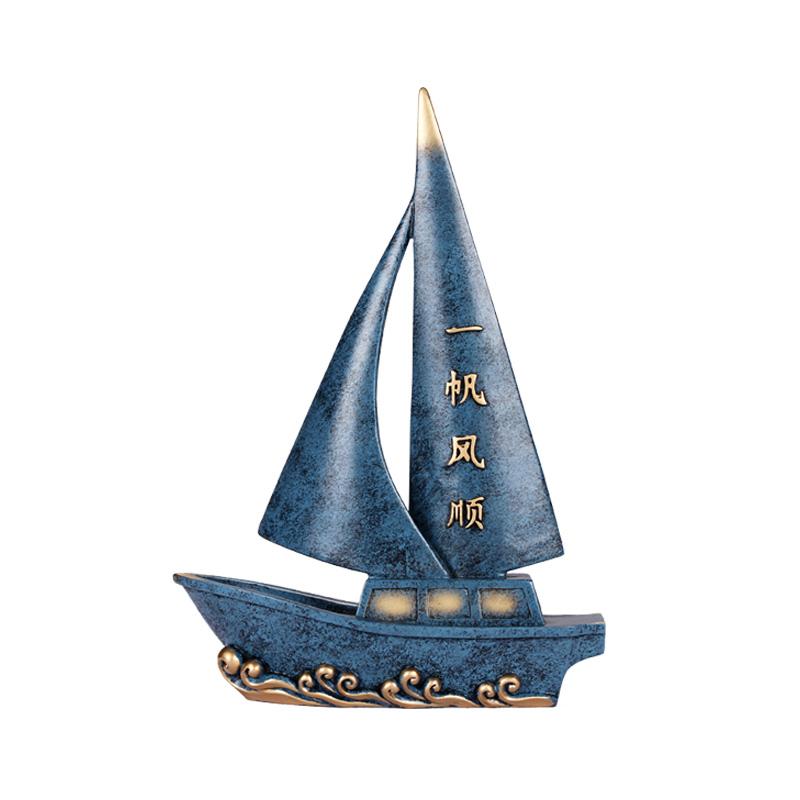 一帆风顺帆船办公桌摆件男士高档礼物送领导新中式家居客厅装饰品