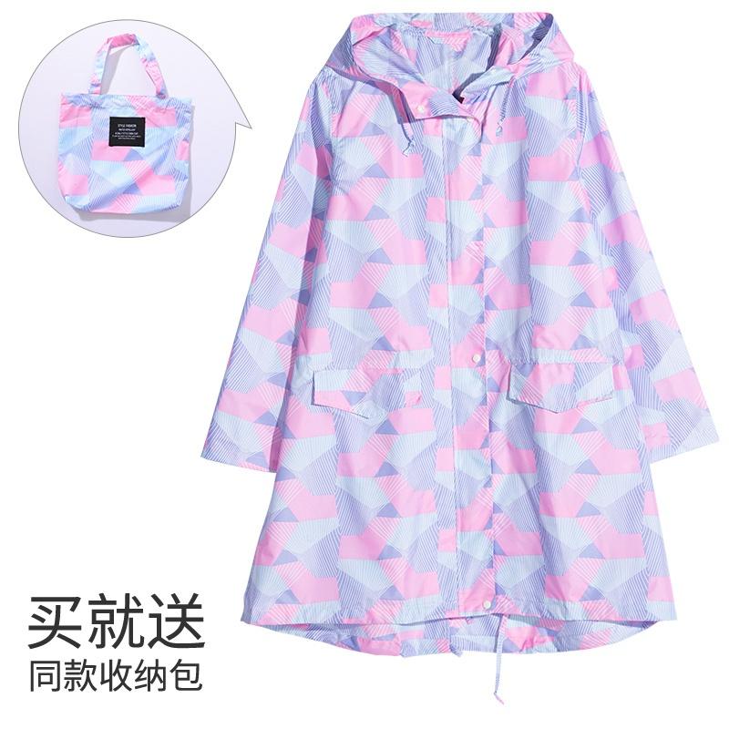 新品日韩成人时尚雨衣轻薄几何格子封胶防大雨暴雨徒步旅行骑车风