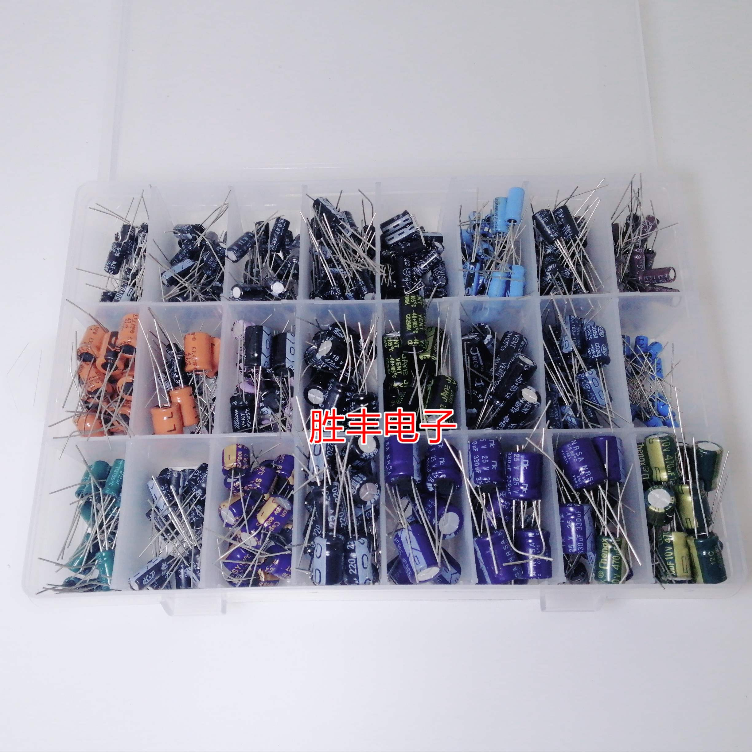 24種類の常用アルミ電解コンデンサ10 v-50 vコンデンサ0.1 uf-1000 ufダイレクトプラグ