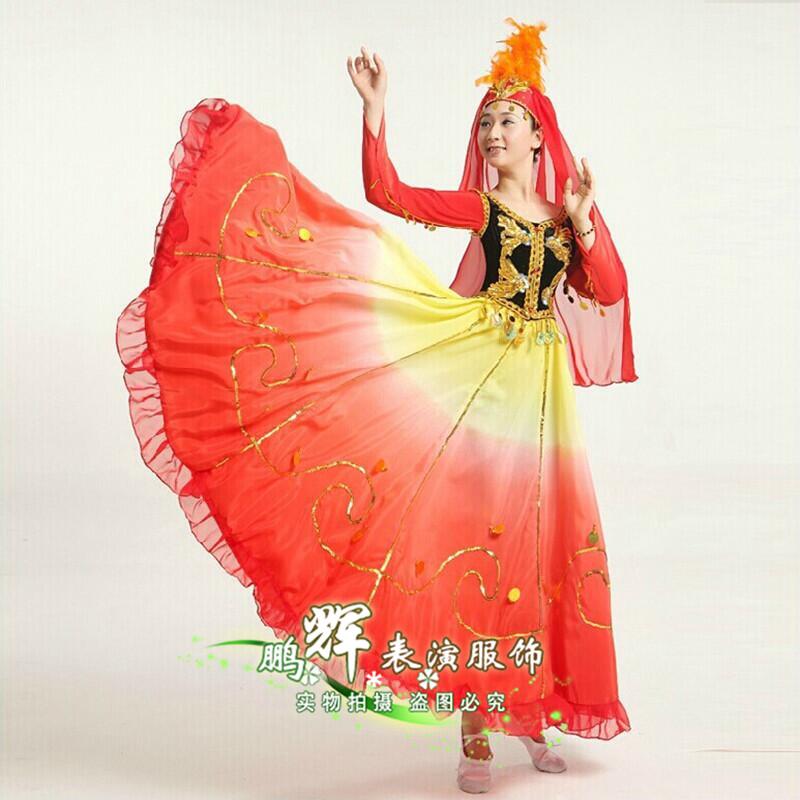 表演舞蹈维族少数民族新女裙风格广场舞维吾尔族服装大摆新疆高档