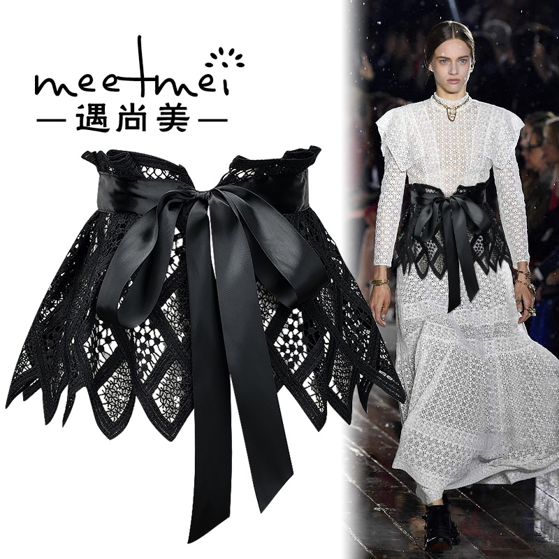 2021 spring new fashion knot tie Lace Waist cover womens wide decorative dress shirt belt fabric