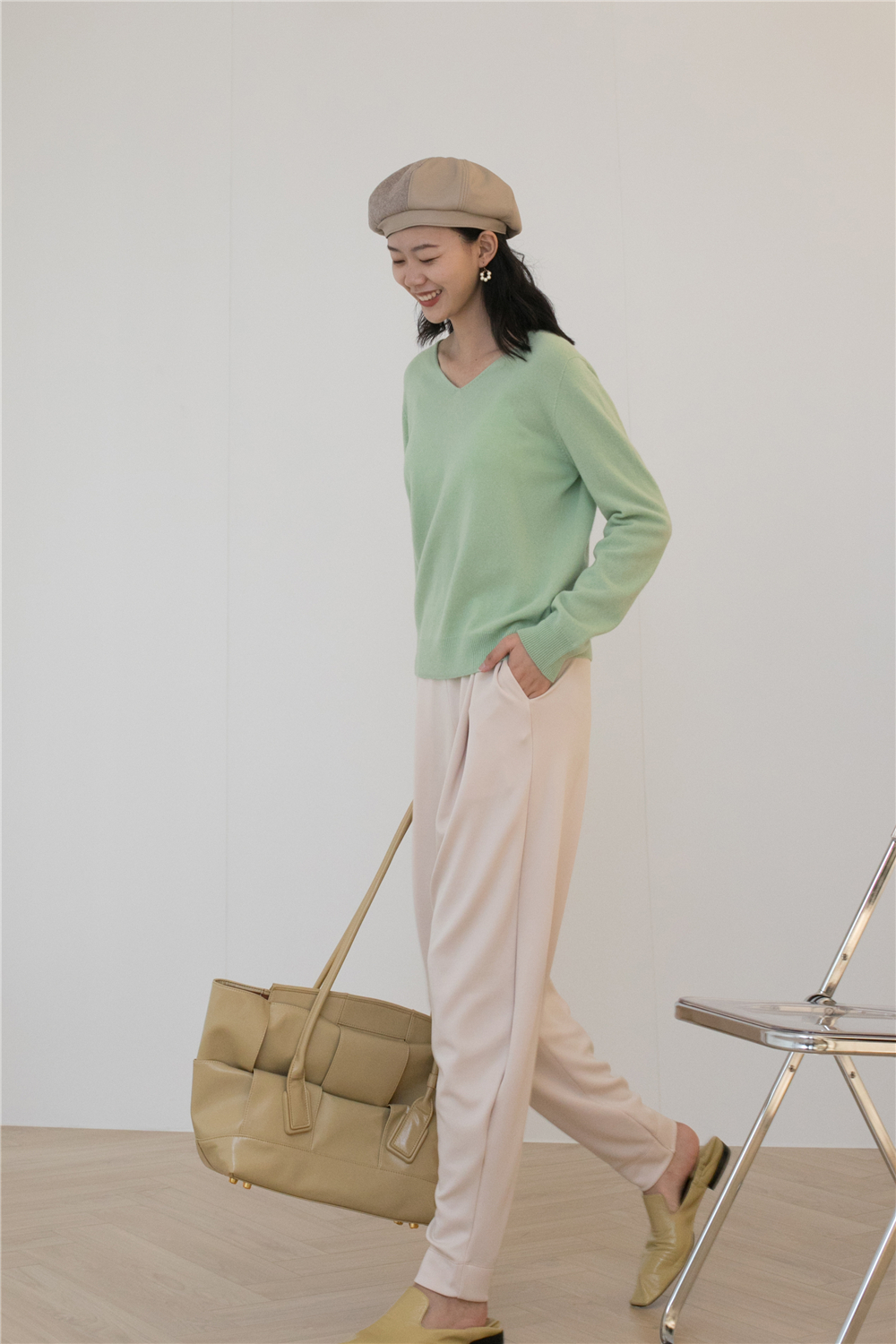 Autumn 2020 new style bodywear womens fashion modal is loose and slim, comfortable and versatile solid color casual tapered pants