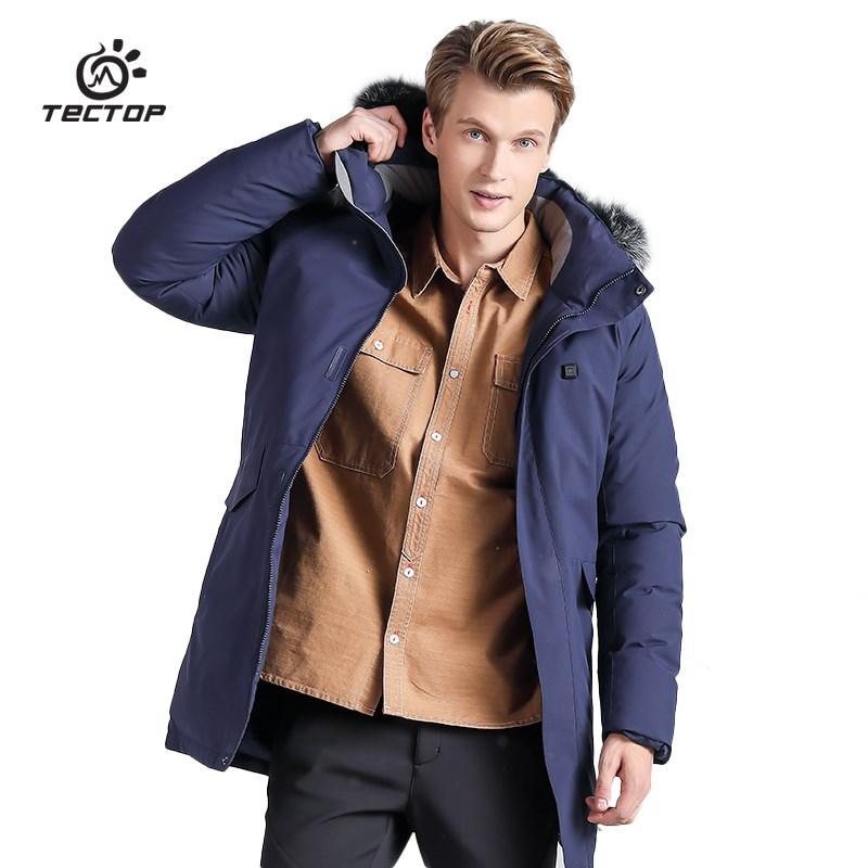 智能发热反季节羽绒服男长款超厚户外运动外套可脱帽大毛领