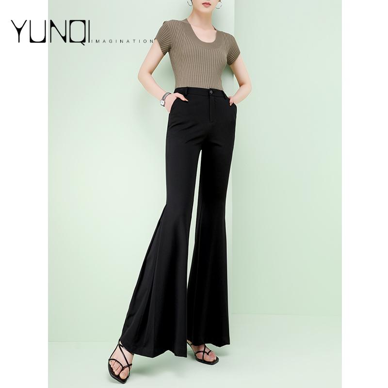 Micro flared pants womens summer thin 2021 new Chiffon ice pants long high waist drop feeling wide leg pants