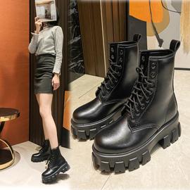 欧洲站短靴子2020秋冬款百搭真皮高跟女马丁靴粗跟厚底系带短筒靴