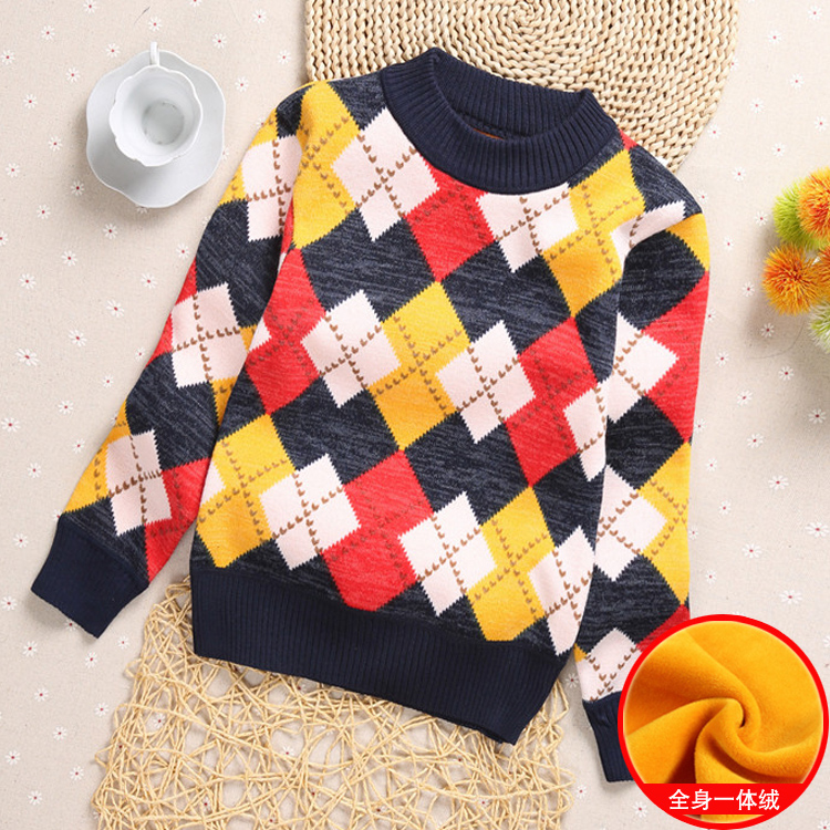 . New autumn and winter new middle and small childrens sweater boys high and low collar sleeve thickened Plush solid color knitting backing