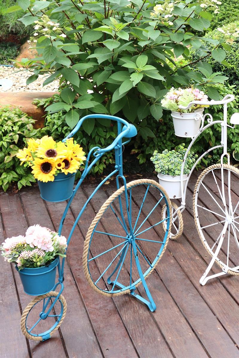 户外自行车花架做旧铁艺庭院花园阳台布置欧式橱窗装饰品园艺摆件