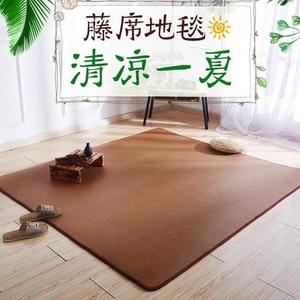 夏季丝卧室客厅藤席地毯榻榻米凉席加厚儿童爬行地垫子床边飘窗