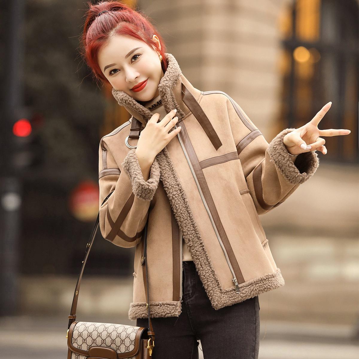唯依●时尚麂皮绒皮毛一体20新夹克