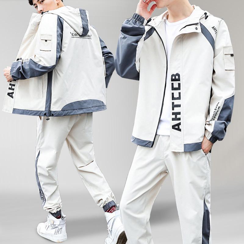 工装外套男装搭配一套帅气休闲运动套装男士夹克韩版潮流春秋衣服