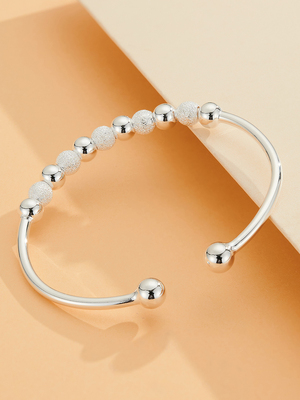 New 520 gift 999 Zuyin single-minded Beaded Sterling Silver Bracelet opening simple frosting fashion for lovers